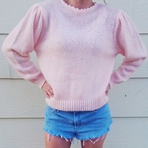 Vintage Shenanigans Pink Sweater with Pearls